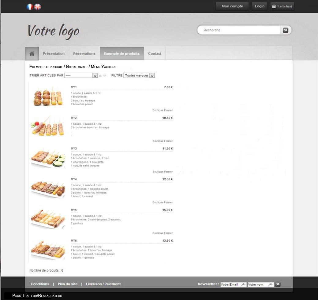 cr ation d 39 un site e commerce pour traiteur restaurateur. Black Bedroom Furniture Sets. Home Design Ideas