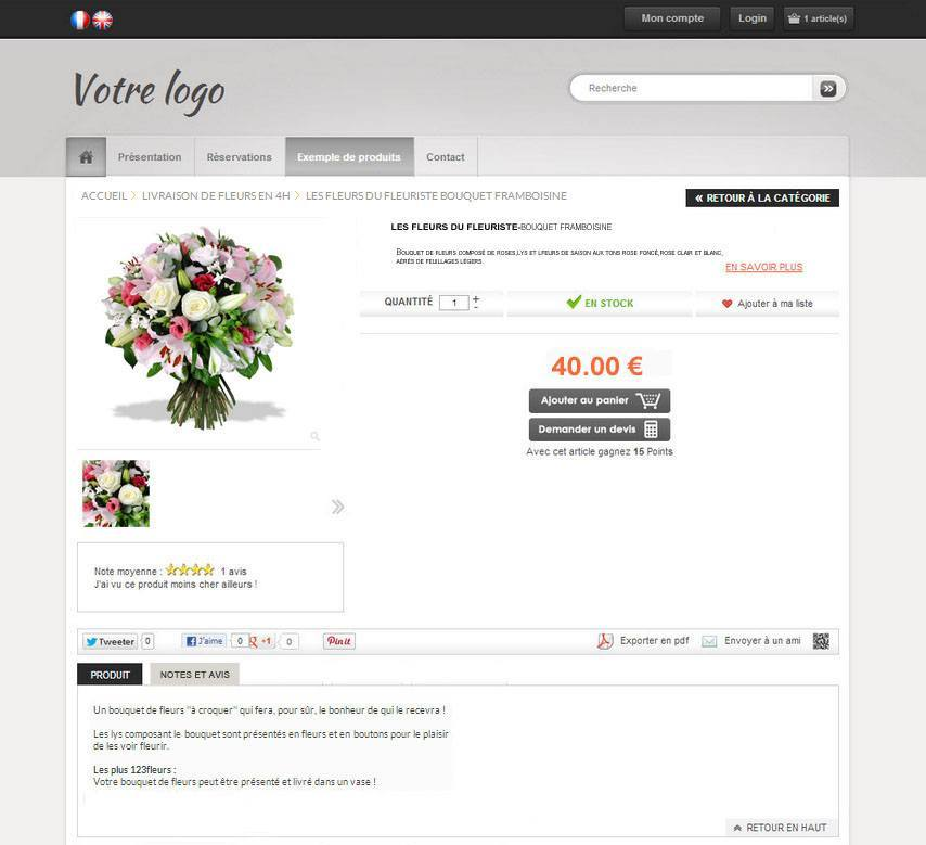 cr er une boutique de fleurs en ligne. Black Bedroom Furniture Sets. Home Design Ideas